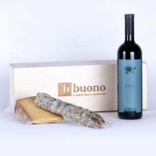 Cassetta in legno prodotti tipici di Brescia groppello bagoss e salame