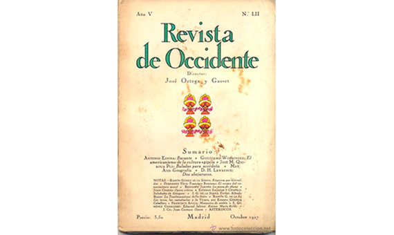 Portada de la Revista de Occidente de octubre de 1927. La Revista de Occidente es una revista española de pensamiento fundada por el filósofo José Ortega y Gasset en 1923.
