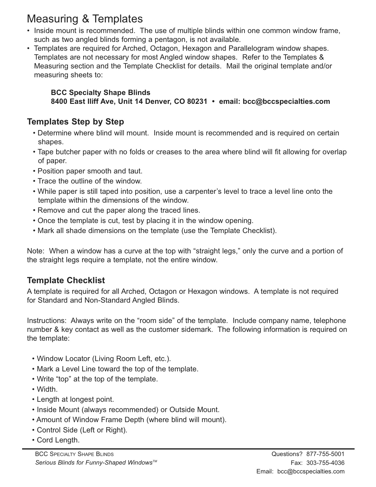 Bcc Specialties Measure Amp Template Instructions
