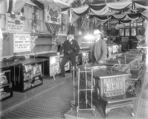 ALBION IRON WORKS STOVE SHOWROOM BACK IN THE DAY. COURTESY OF VANCOUVER ARCHIVES.