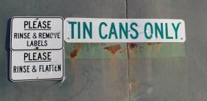 Recycing bin for tin