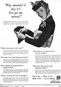Advertisement of young woman asking why she shouldn't buy somehting if she had the money