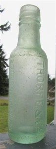 Thorpe's Bottle with visible etching in glasss