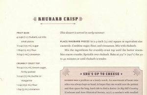 """Rhubarb Crisp recipe from """"Come 'n' Get it - Roundup Recipes from Ranch Country"""" by B. Barss"""