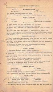 BC Dept. of Education 1932 textbook rhubarb sauce recipe