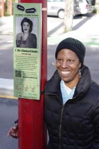 Commemorative plaque of Vie's Chicken and Steak House ith Bertha Clark, granddaughter of Viva Moore