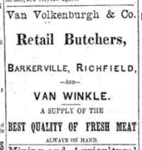 Van Volkenburgh ad - Retail Butchers - 15-10-1870