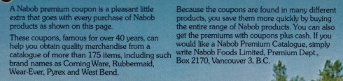 Photo of quality Nabob produtcts from 1973 time-honoured cook book