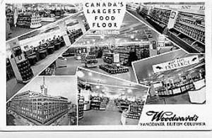 Woodward's Food Floors postcard 1953