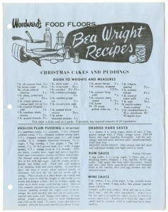 Bea Wright's recipe flyer