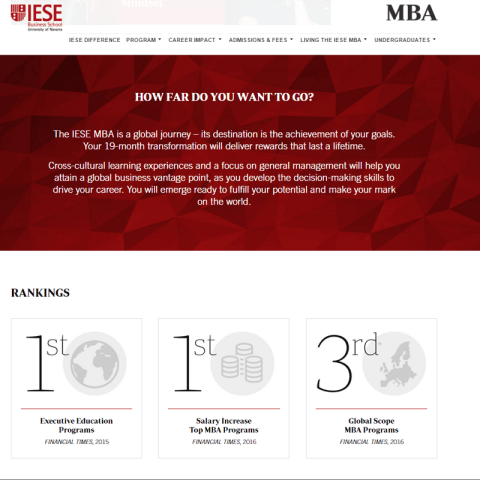 SITIO WEB DEL MBA DE IESE BUSINESS SCHOOL