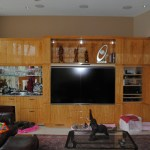 90″ Flat Screen Installation in Franklin, WI, Southeast Wisconsin Home Entertainment Installation Specialist, Flat Screen Installation in existing built in, Brookfield New Construction Audio/Visual, Brookfield New Construction Security Brookfield New Construction Network Cabling, Basement Family Room A/V in New Berlin, WI, 100″ Custom Theater in Delafield, WI,