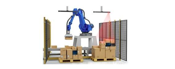 Paletizado y despaletizado automatizado de cajas con productos lácteos envasados mediante robot y visión artificial