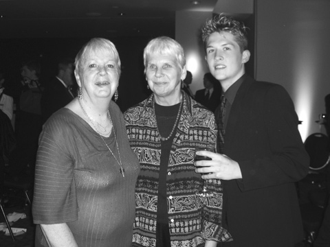 'GAY PIONEER' Lilli Vincenz (center) and her partner, Nancy Davis (left), were among the honored guests of the Falls Church News-Press at the annual Human Rights Campaign National Dinner in Washington, D.C., Saturday night. They are shown here with Johnny Booze, another of the total of 14 News-Press guests attending the fete. Vincenz was an outspoken advocate and demonstrator on behalf of gay rights in the mid-1960s, a colleague of the HRC Dinner's special honoree Frank Kameny, before there were any laws or other protections for gays and lesbians. (News-Press photo)