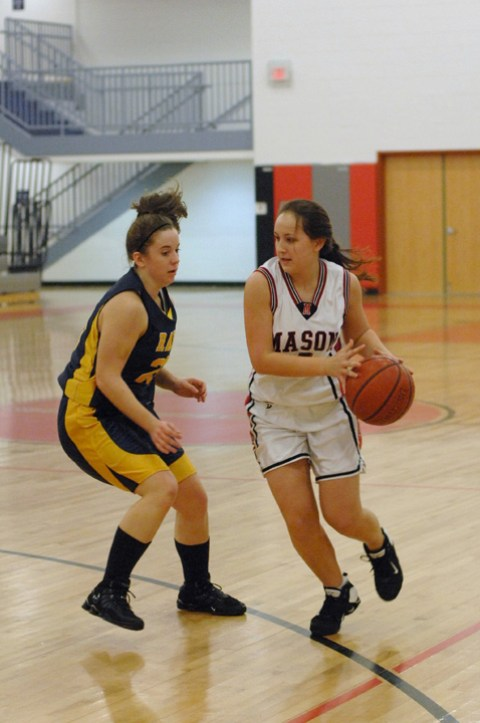 MASON'S REBECCA JACKSON plays defense earlier this season. (Photo: Bob Morrison, Bonnie Briar Productions, LLC)