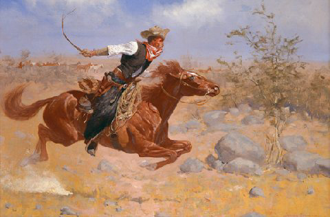 """""""Cowboy"""" by Frederic Remington, Oil on Canvas circa 1890, Private Collection."""