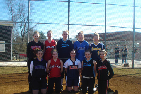CONGRATULATIONS GO OUT TO VIENNA Stars products BC Clendenny, Holly Dominguez, Ashley Rollins, Lindsey Packard, Kaila Conlon, Khristin Kyllo, Laura Wolff, Lauren Sanata, Michelle Tilson, Lauren McColgan and Megan Sullivan, all of whom made their varsity high school  softball teams this spring. 10 of those 11 ladies are shown above. (Photo: courtesy Diana McColgan)