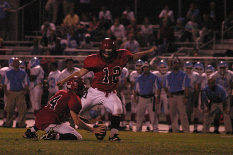McLean High School kicker Alex Rosembaum unleashes the first of two successful field goal attempts last Friday night. These six points would be all the Highlanders could muster in the game's first half (Photo: News-Press)