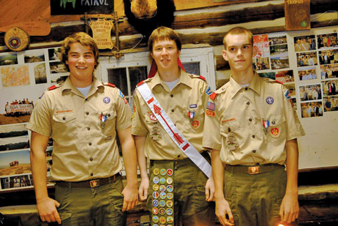 Evan Martin, Will Douthit and Sam Dowell received their Eagle, the highest rank awarded by the Boy Scouts of America at a Court of Honor Ceremony held in the Scout House on December 8. Will, Sam and Evan are members of the Viking Patrol in BSA Troop 681, Falls Church. All 11 members of the Viking patrol will receive their Eagle rank by the end of this year. Over 60 people attended the ceremony including 14 Eagle Scouts. Virginia  Delegate, David Bulova made a presentation. Will, Evan and Sam are all seniors at George Mason, McLean and Fairfax High School. (Photo: Courtesy of Karen Kasmauski)
