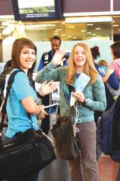 	KATE POTRYKUS AND JACKIE PACELLA, rising seniors at GMHS, prepare to leave for China. Ten students and eleven chaperones departed on June 24 and will return July 2, during which they will visit Beijing, Xian and Shanghai. GMHS Chinese teacher Tina Kao is hopeful this trip will create an exchange program for Chinese students. (Photo: Courtesy Shelbi Taylor).