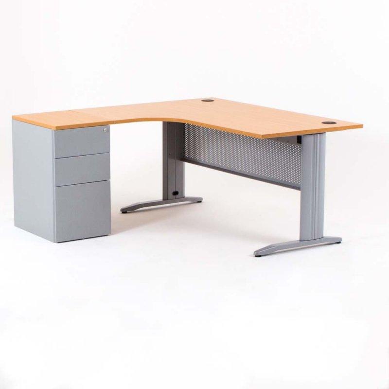 bureau compact avec caisson hauteur bureau p 60 cm metal gauche 160
