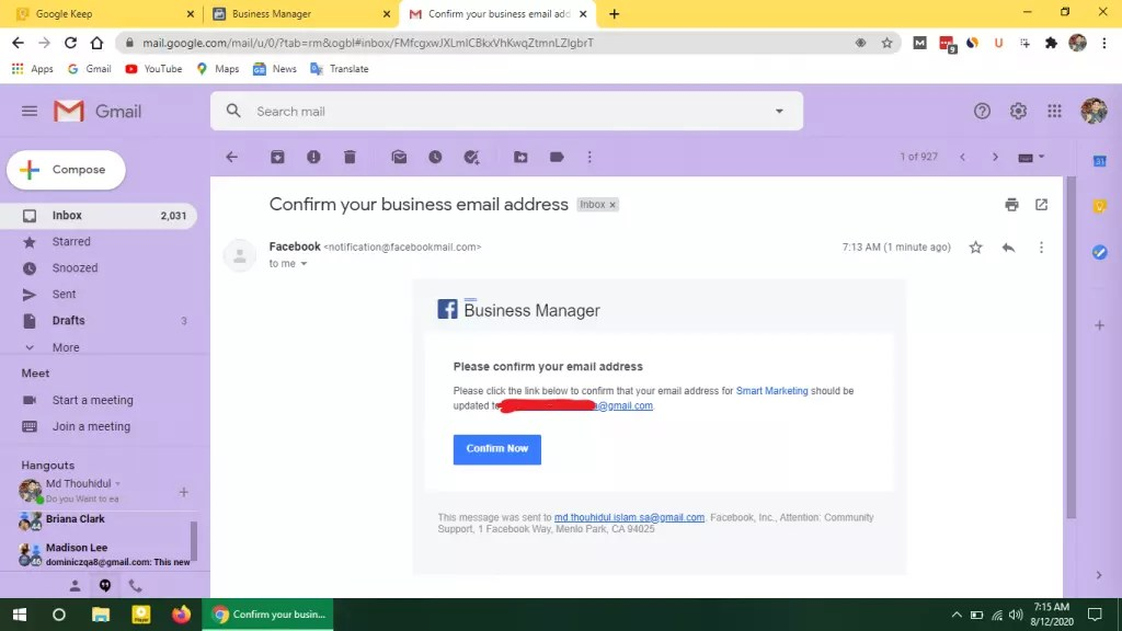 Facebook Business Manager email check