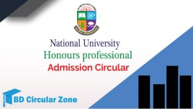 NUProfessional Honours Admission Circular 2019-20