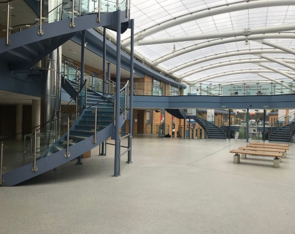 A new flooring finish was required for a school atrium which hundreds of children use or pass through each day.