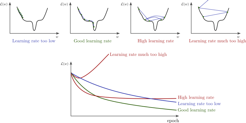 Behavior or different learning rate values