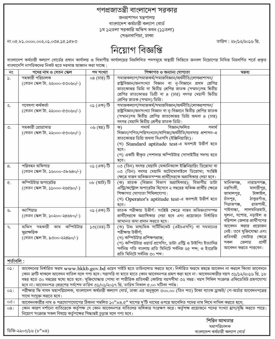 Bangladesh Karmachari Kallyan Board Jobs Circular December 2016