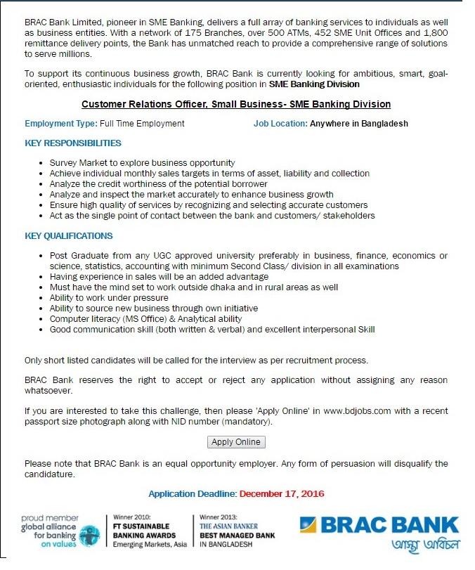 BRAC Bank Jobs Circular in December 2016