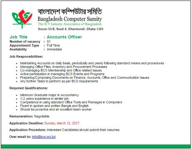 Bangladesh Computer Samity (BCS) Job Circular 2017