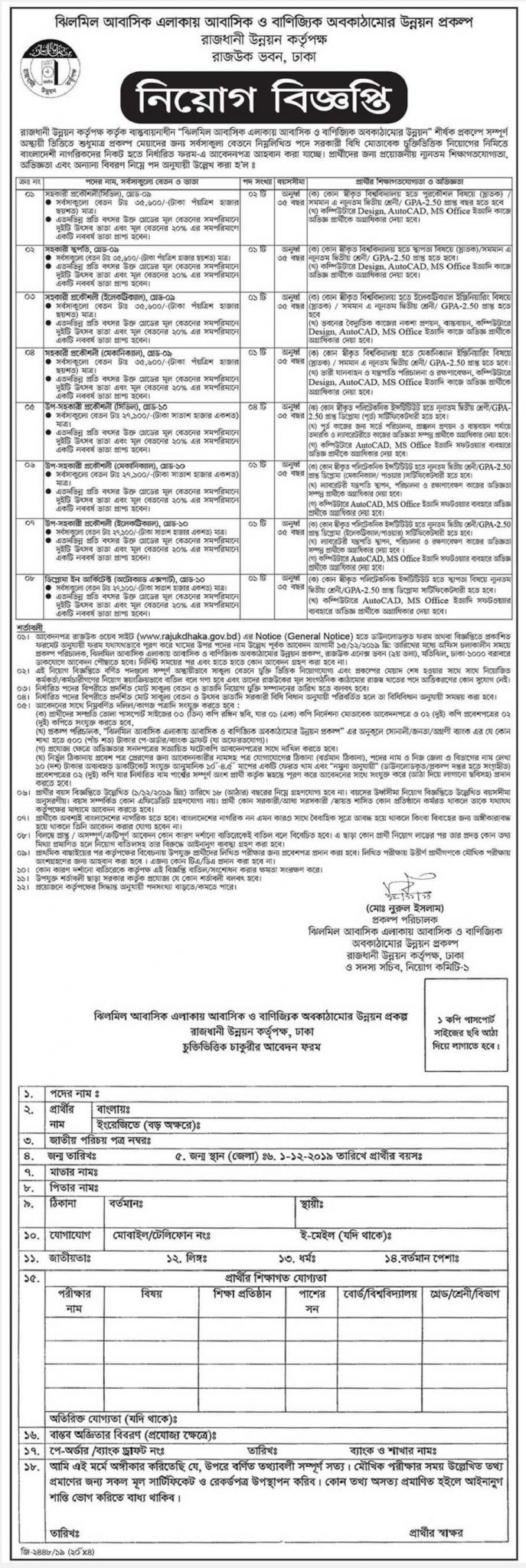 Rajdhani Unnayan Kartripakkha (RAJUK) Job Circular 2019