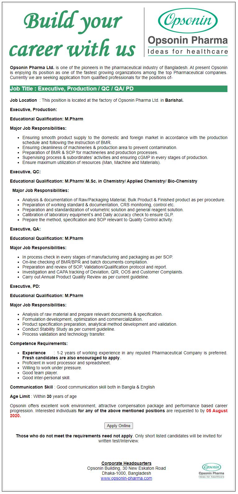 Opsonin Pharma Limited Job Circular 2020