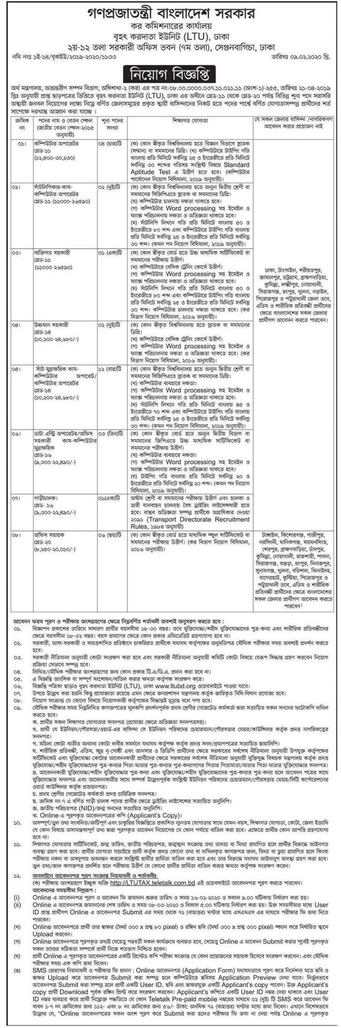 Tax Commissioner Office Job Circular 2020