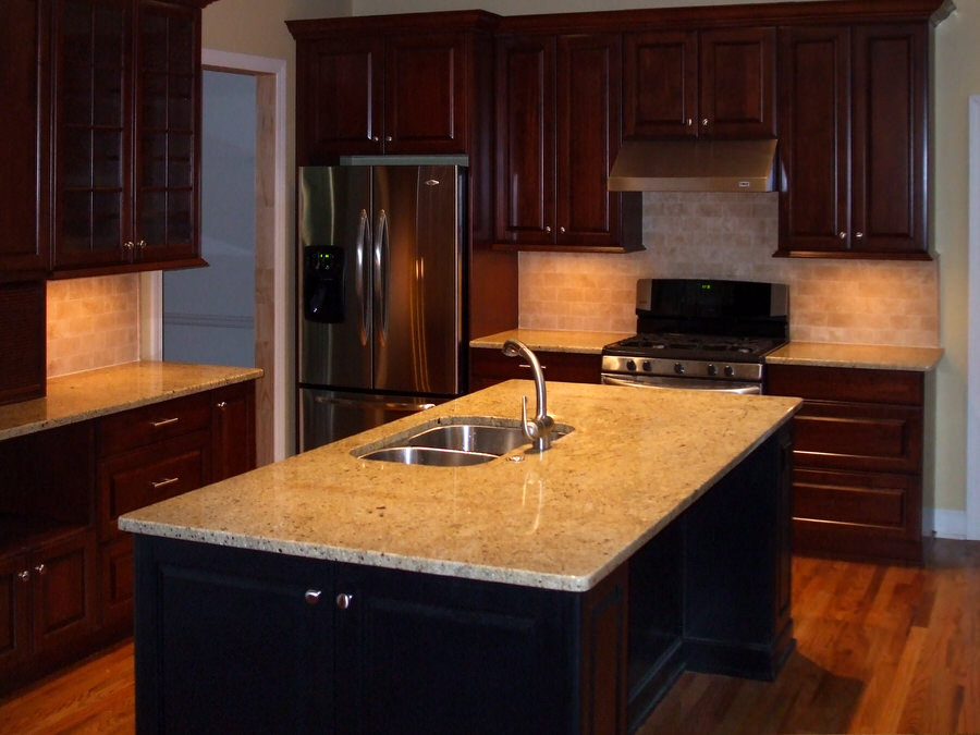 Contemporary Remodeled Kitchen with Deep Cherry Cabinets & Contrasting Island