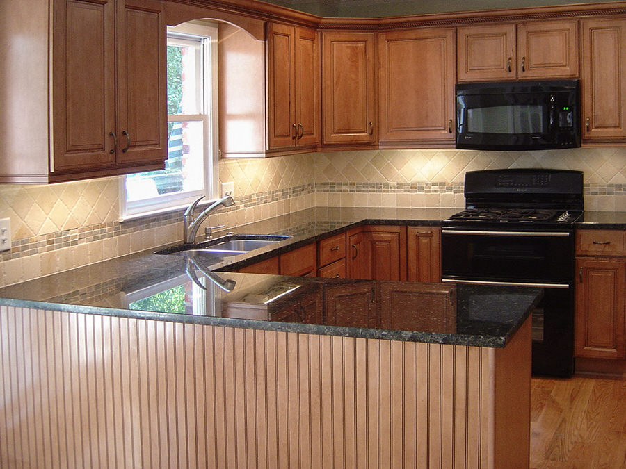 Traditional Kitchen with Maple Cabinets & Black Granite ...