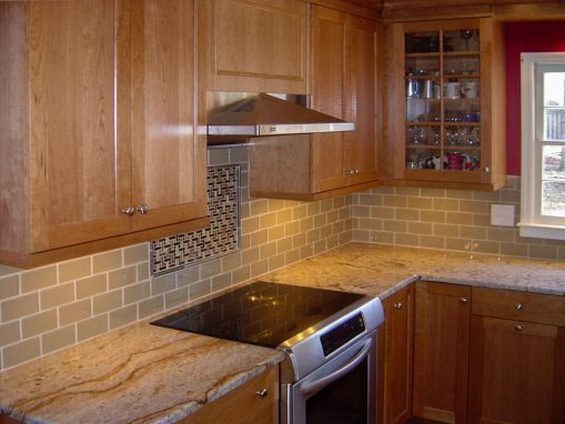 Transitional Kitchen with Classic Maple Cabinets & Contrasting Island