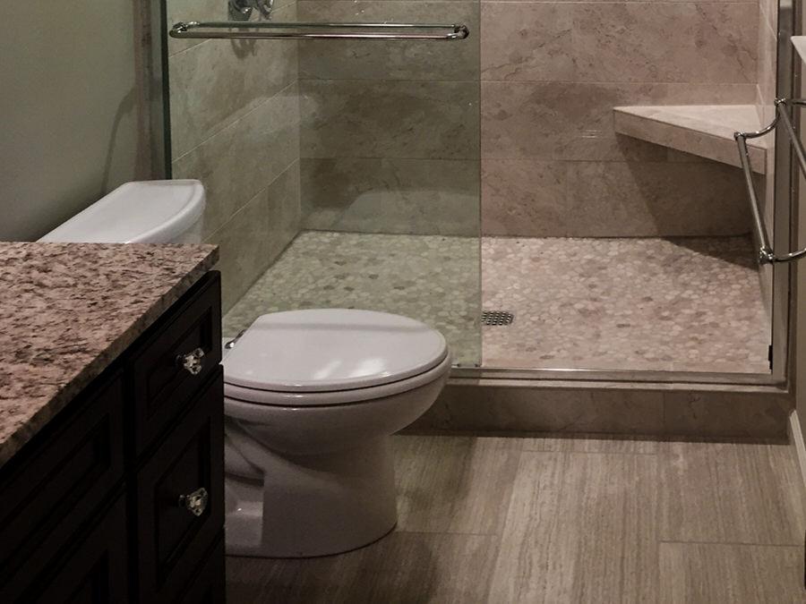 Soft Gray Transitional Bathroom