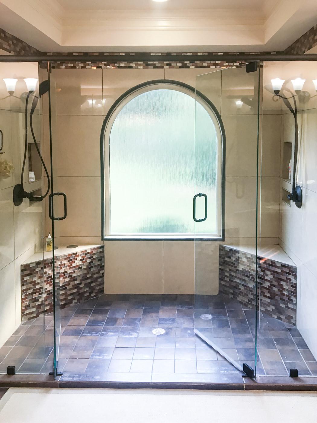 "Mosaic ""Earth-tone"" Inspired Master Bath"