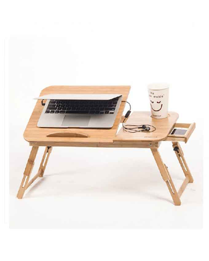 wooden laptop table with cooling fan