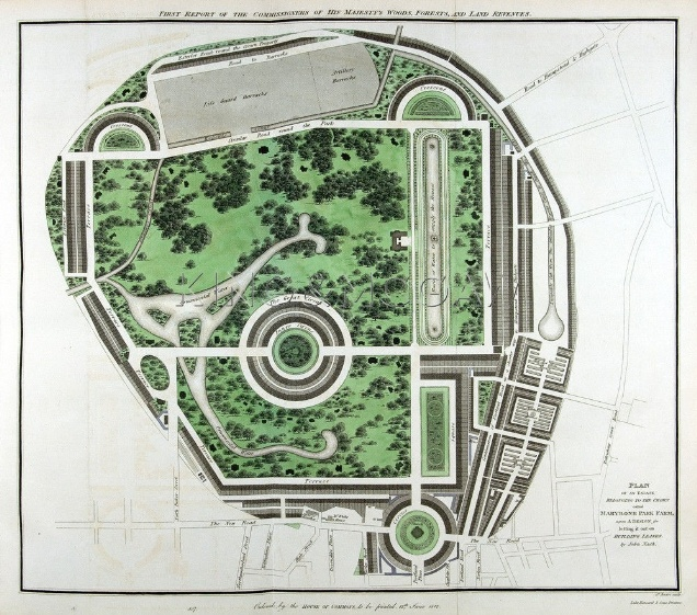 Nash's plan for the Park Square and Crescent site, including a circle with a church at the centre