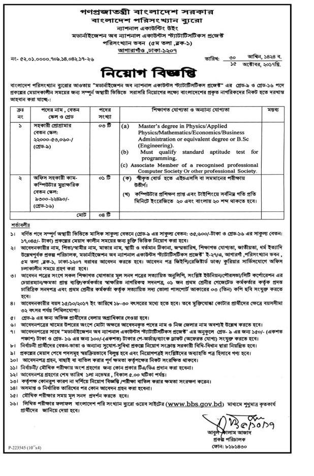 Bangladesh Bureau of Statistics Job Circular & Result 2017