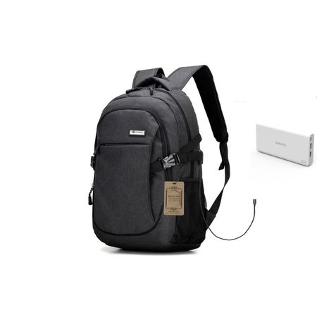 Pachet baterie externa Romoss, 20000 mAh negru plus rucsac antifurt cu port USB incarcare,negru