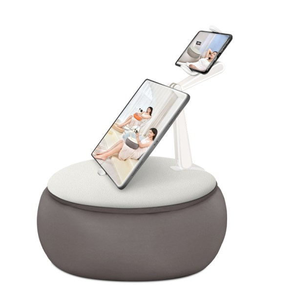 Suport portabil pentru telefon, cu perna, reglabil, gri