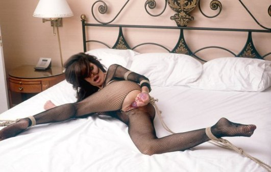 Ashley Renee Bound and Playing with Dildo in Bedroom
