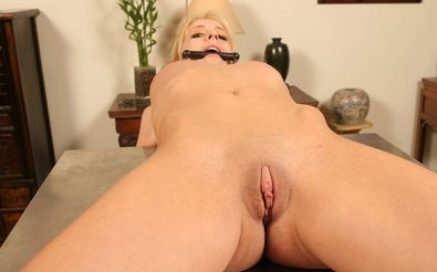 Beautiful Blonde Gets Gagged and Tortured on Table