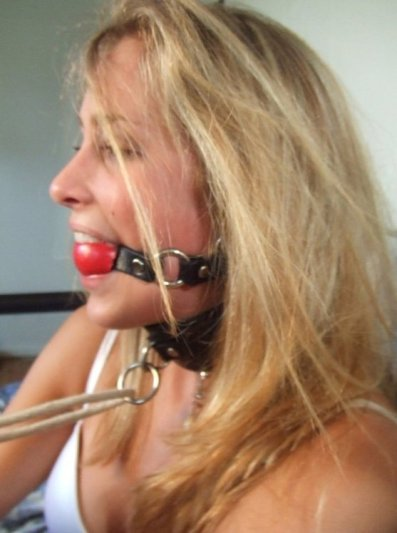 Girlfriend in Stockings Collared, Gagged and Bound