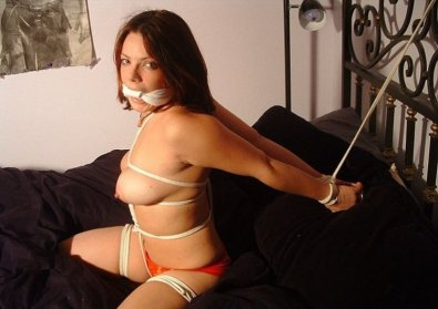 Hot Girlfriend Bound and Cleave Gagged in Bedroom