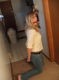Pretty Blond Girlfriend Cuffed and Gagged for Fun